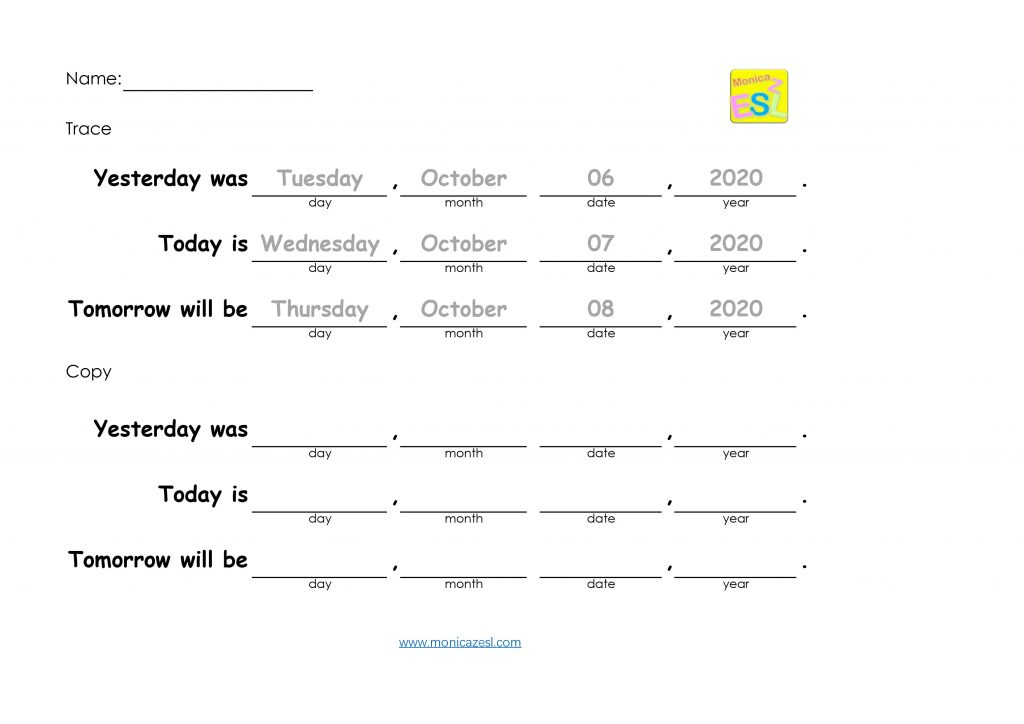 day-date-worksheet